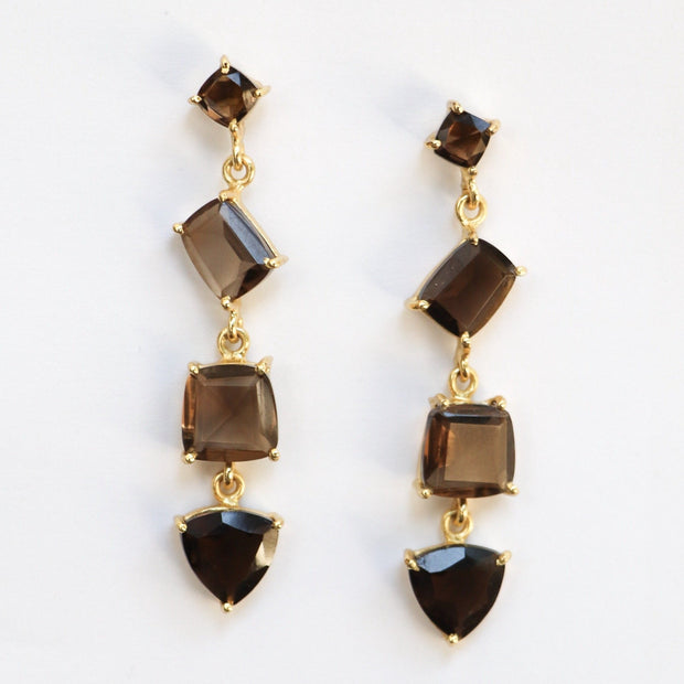 Gold Smokey Quartz Cascade Earrings