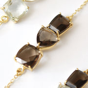 Gold Smokey Quartz Bar Bracelet