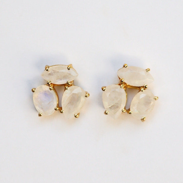 Gold Moonstone Cluster Studs