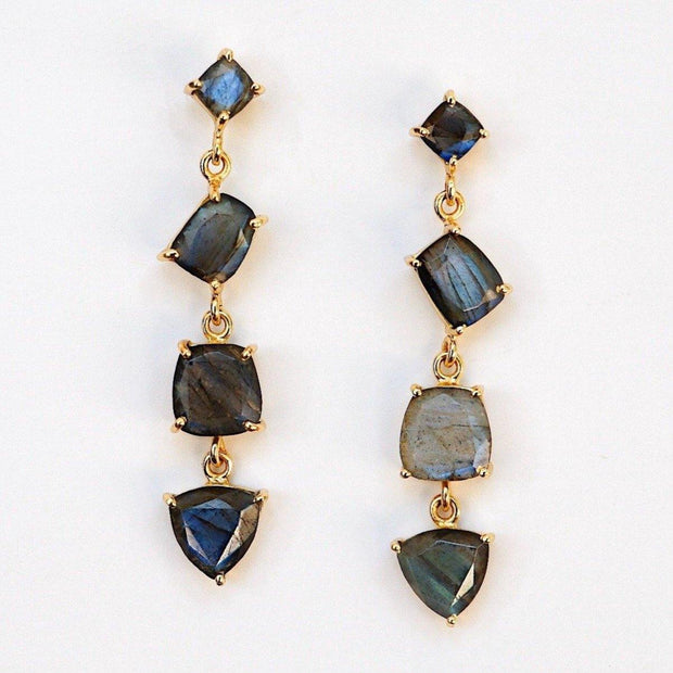 Simone Watson Jewellery Collection: Beautiful and bold - these stunning cascade drop earrings are handmade in sterling silver and plated with thick 14 carat yellow gold, featuring four Labradorite semi precious gemstones
