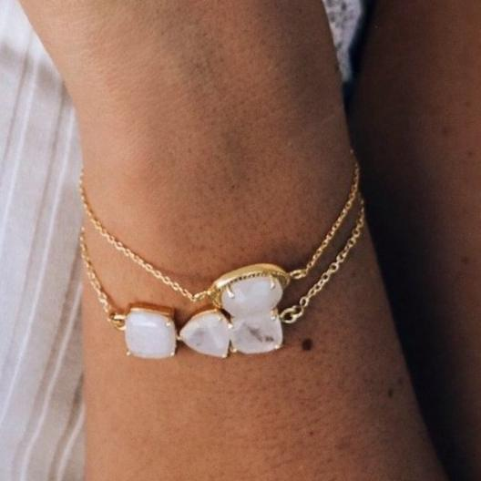 Gold Moonstone Bar Bracelet