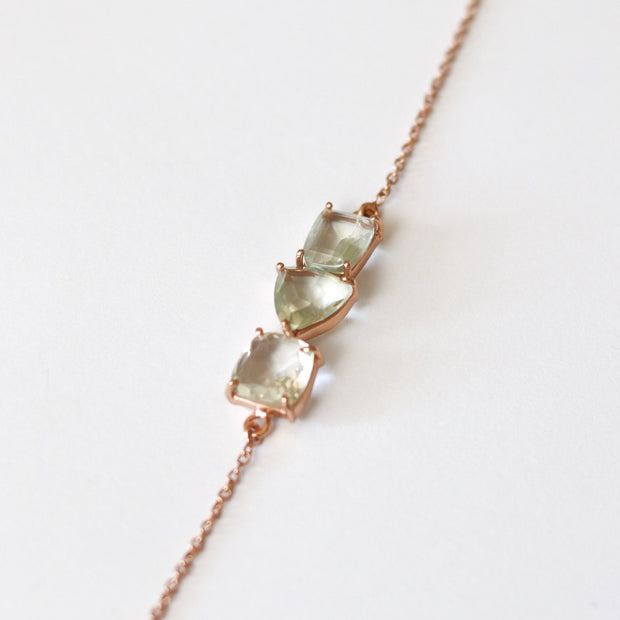 Rose-gold-plated-bracelet-green-amethyst-semi-precious-gemstone-simone-watson-jewellery