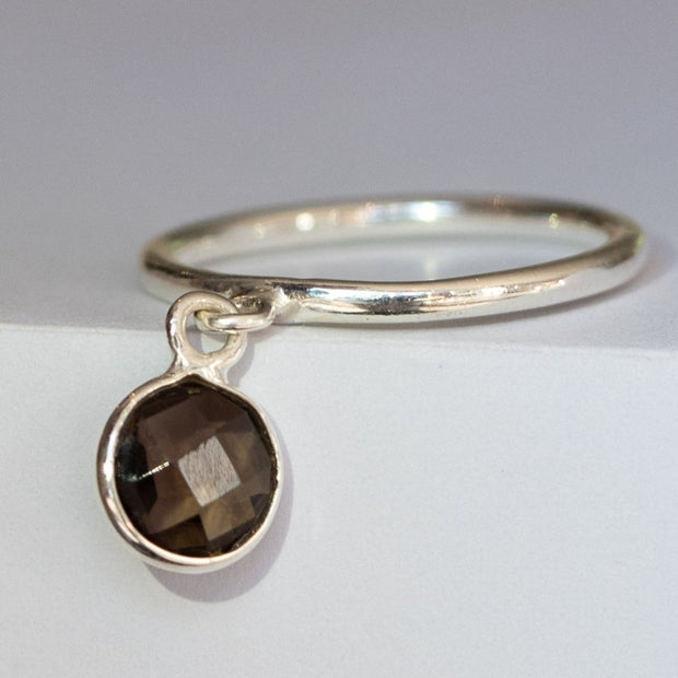 Silver Smokey Quartz Charm Ring