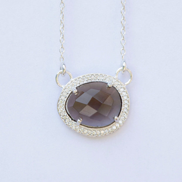 Silver Smokey Quartz Halo Necklace