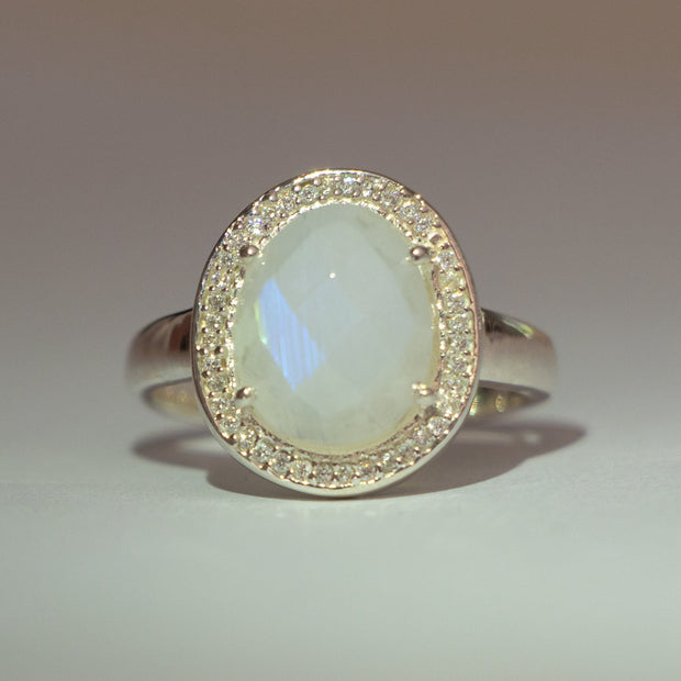 Silver Moonstone Halo Ring