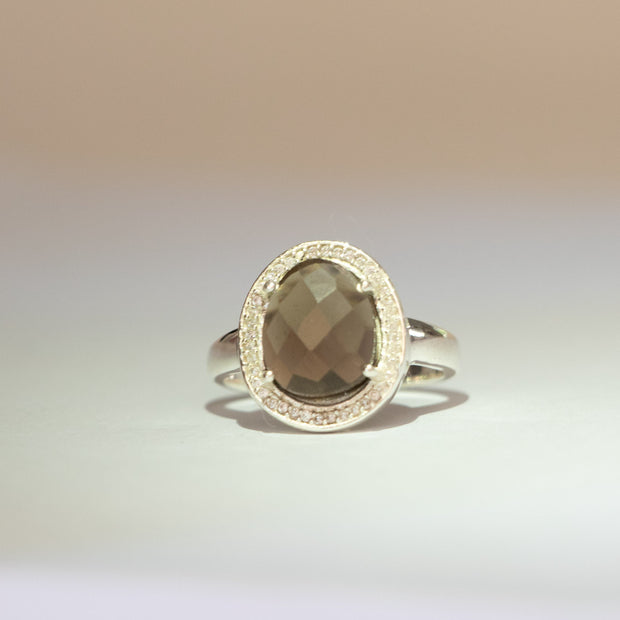 Silver Smokey Quartz Halo Ring
