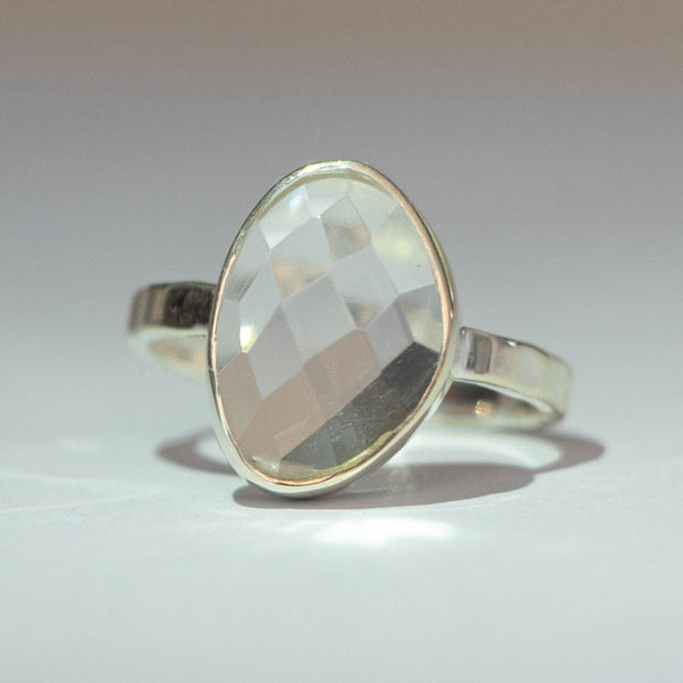 Silver Crystal Solitaire Ring