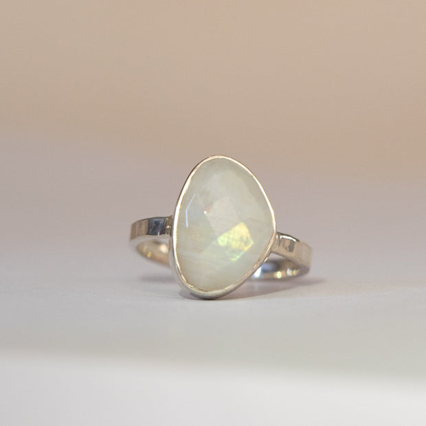 Silver Moonstone Solitaire Ring