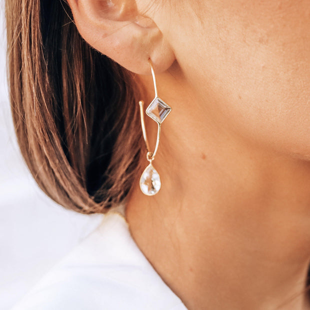 These charming hoop earrings are handmade in sterling silver and 14 carat gold plating and feature crystal quartz semi-precious gemstones