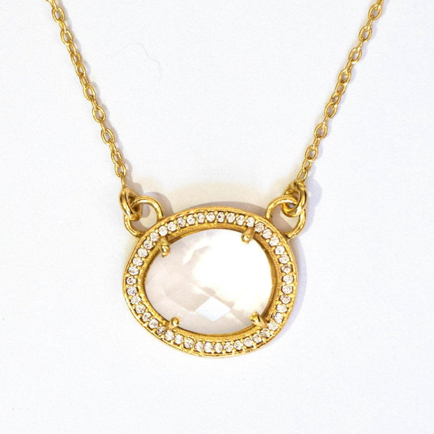 This beautiful pendant features a rose cut Crystal Quartz stone surrounded by a halo of pave set cubic zirconias. Set on a dainty adjustable 14 carat gold plated chain