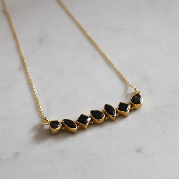 Gold Smokey Quartz Bar Necklace