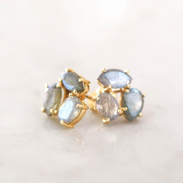 A pair of Labradorite cluster studs feature three uniquely shaped semi-precious gemstones. Wear these day or night to add a subtle touch of glamour to your look