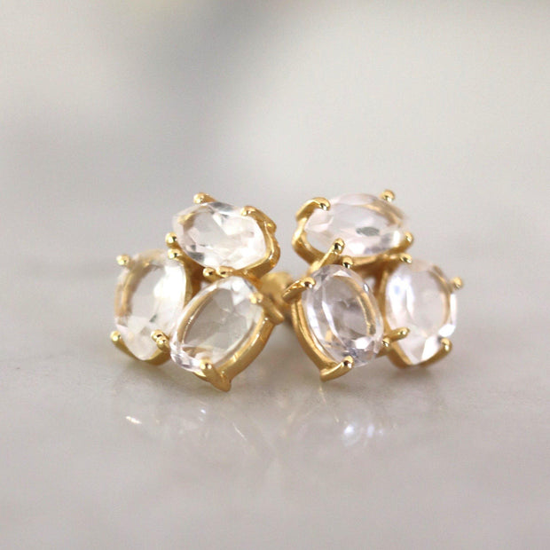 A pair of cluster studs featuring semi-precious Crystal Quartz stones. Wear these day or night to add a subtle touch of glamour to your look