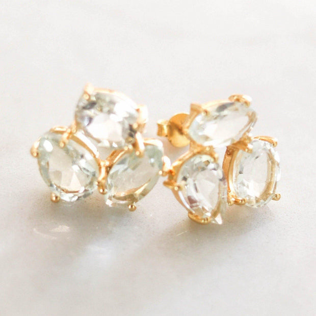 A pair of Green Amethyst cluster studs feature three uniquely shaped semi-precious gemstones. Wear these day or night to add a subtle touch of glamour to your look