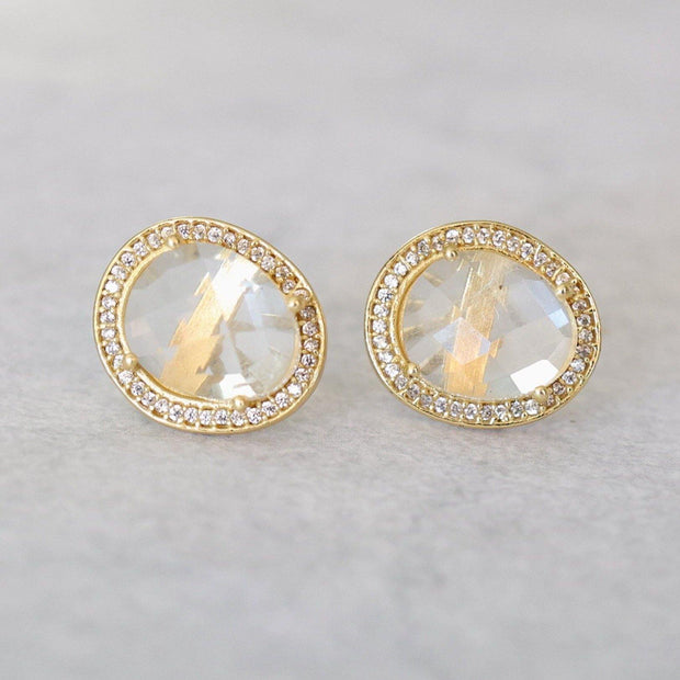 Gold Crystal Halo Stud Earrings