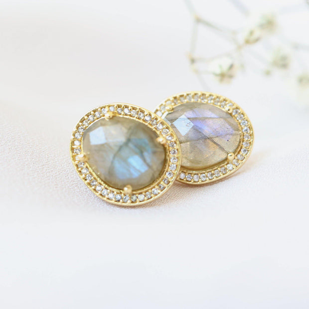 Gold Labradorite Halo Stud Earrings