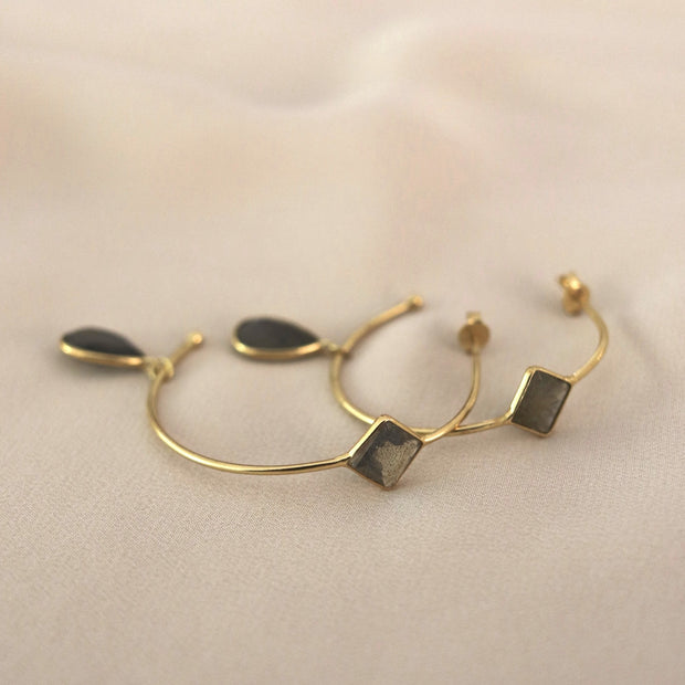 Gold Smokey Quartz Charm Hoop Earrings