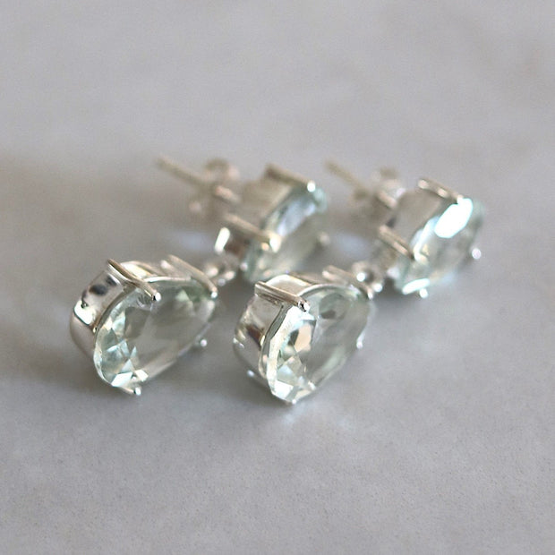 Silver Green Amethyst Drop Earrings