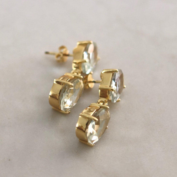 A pair of classic style drop earrings featuring two pear shaped Green Amethyst stones - perfect for work or play
