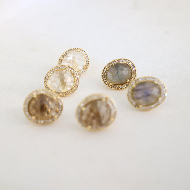 A pair of beautiful rose cut Labradorite stones set in a pave halo and handmade in sterling silver and 14 carat yellow gold plating - adding a subtle finishing touch to your day or night look