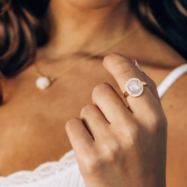Gold Moonstone Halo Ring