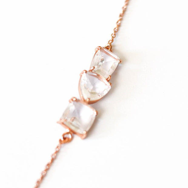 Rose Gold Crystal Bar Bracelet