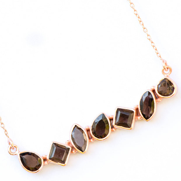 Rose Gold Smokey Quartz Bar Necklace