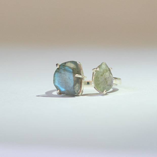 Simone-watson-Jewellery-Two organically shaped labradorite stones set in a cuff style on a single band create this unique ring