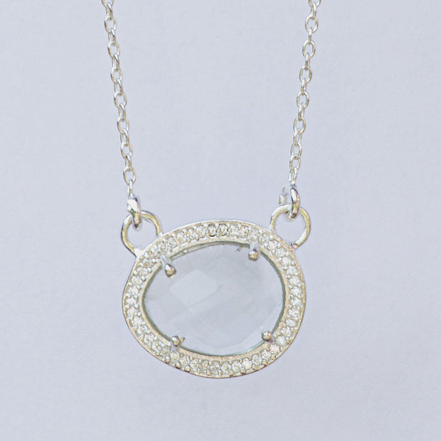 Silver Crystal Halo Necklace