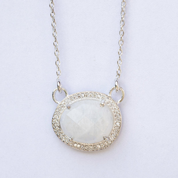 Silver Moonstone Halo Necklace