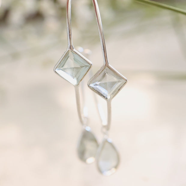 Silver Green Amethyst Charm Hoop Earrings