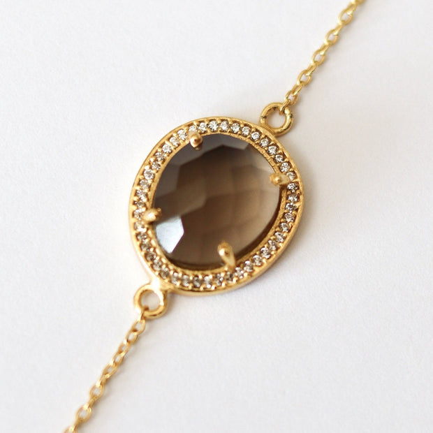 Gold Smokey Quartz Halo Bracelet