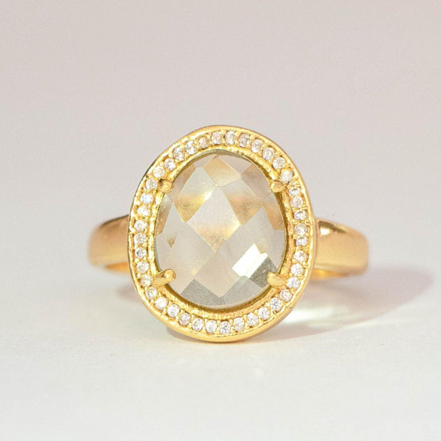 Simone Watson Jewellery collection - This beautiful ring features a rose cut Green Amethyst stone surrounded by a halo of pave set cubic zirconias. Handmade in sterling silver and 14 carat gold plating