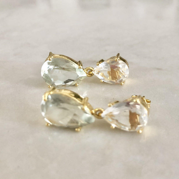 Classic and elegant drop earrings featuring two pear shaped Smokey Quartz stones - perfect to be worn for special occasions