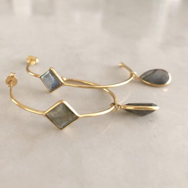 Simone Watson Jewellery - These unique hoop earrings are handmade in sterling silver and plated in 14 carat gold, featuring gorgeous Labradorite semi-precious stones