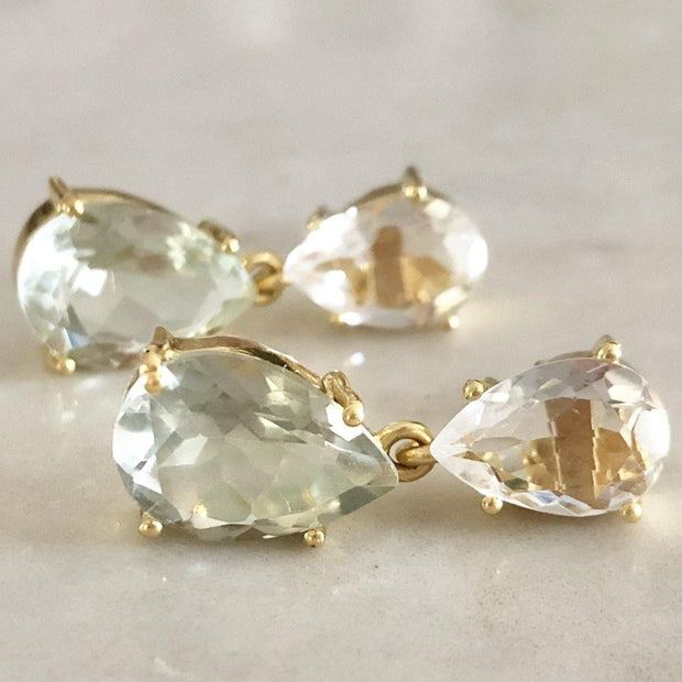 Classic and elegant drop earrings featuring pear shaped Crystal Quartz and Green Amethyst stones - perfect to be worn for special occasions