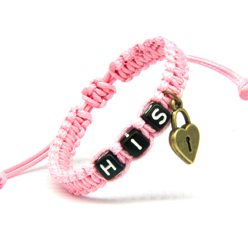 His & Hers Couple Bracelet with Key Lock Pink