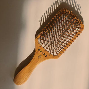 bamboo hair brush, wood bristle hair brush, sustainable hair brush, bkind bamboo hair brush, eco friendly bamboo hairbrush,