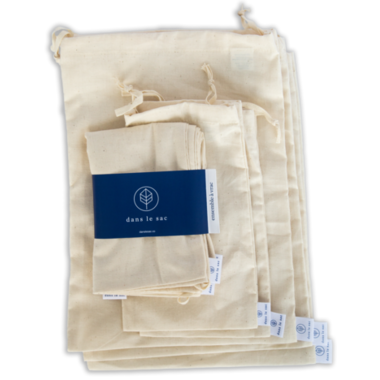 dans le sac, cotton bulk bags, reusable bulk bags, made in Canada