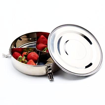 stainless steel food container with dividers, high grade 18/8 stainless steel, onyx stainless steel