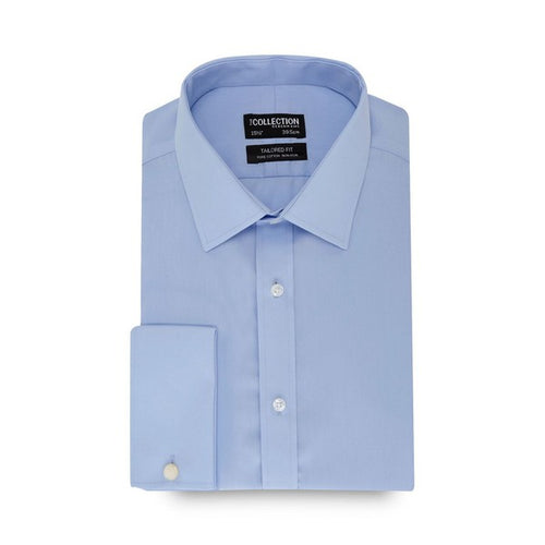 Blue long sleeve non-iron tailored fit shirt