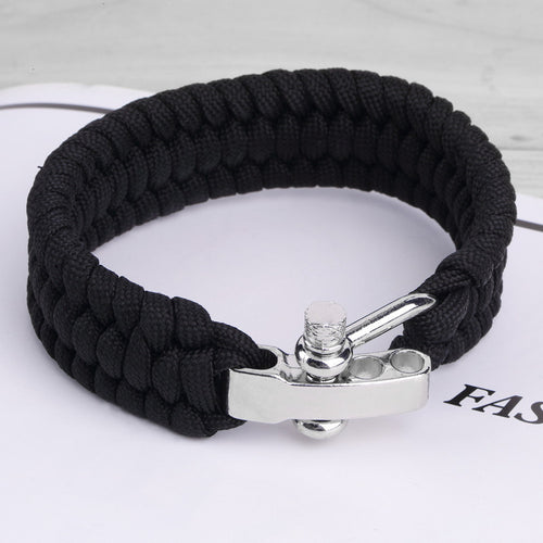 Black ParaCord Rope Survival Bracelet