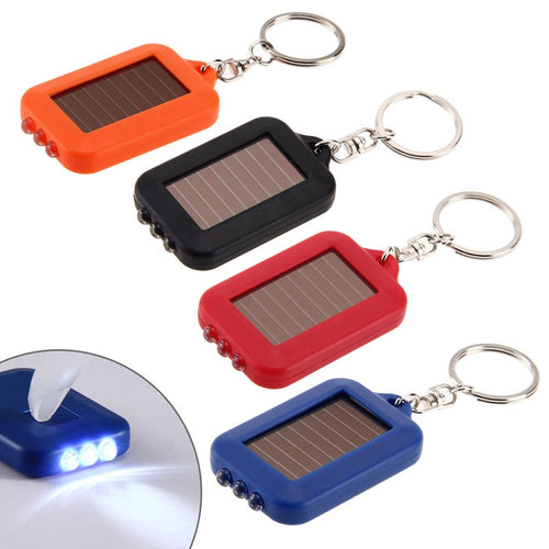 3 LEDs Solar Panel electric torch key chain flashlight Rechargeable
