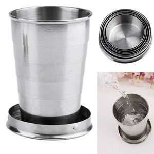 1Pc 75ml Stainless Steel Camping Folding Cup