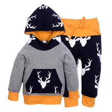 Load image into Gallery viewer, 2pcs Autumn Winter Kids Reindeer Hooded Sweatshirt Top and Pants