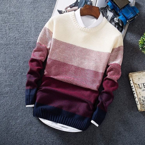 Gradient Striped Sweater - MAROON SCARF - men's clothing