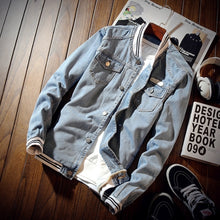 Load image into Gallery viewer, Denim Bomber Jacket