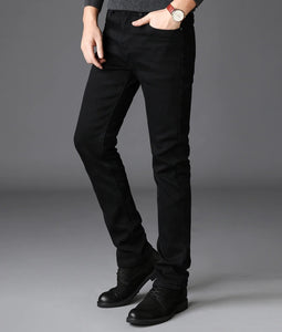 Straight Black Jeans - MAROON SCARF - men's clothing