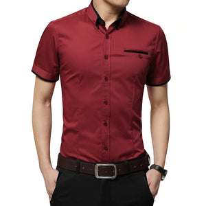Business Short Sleeve Shirt - MAROON SCARF - men's clothing