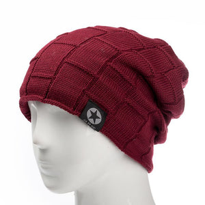 Knitted Fleece Lined Cap - MAROON SCARF - men's clothing